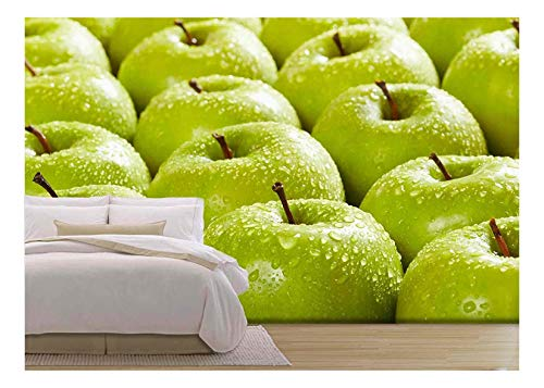 wall26 - Large Group of Granny Smith Apples in a Row. Selective Focus - Removable Wall Mural | Self-Adhesive Large Wallpaper - 100x144 ()