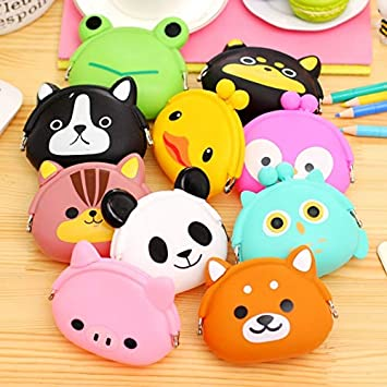 Silicone Coin Purse Bag Girls New Girls Mini Silicone Coin Purse Animals Small Change Wallet Purse Women Key Wallet Coin Bag for Gifts # E