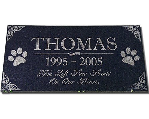 You Left Paw Prints on Our Hearts Pet Memorial Stones Personalized Headstone Grave Marker Absolute Black Granite Garden Plaque Engraved with Dog Cat Name Dates (Words To Put On A Memorial Plaque)