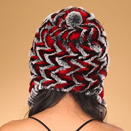 URSFUR Women's Knit Rex Rabbit Fur Bonnet Hat with Pom Poms Multicolor (Black & Red)