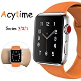 For Apple Watch Band, ACYTIME Durable Soft Silicone Replacement iWatch Band Sport Style Wrist Strap for Apple Watch Band 42mm Series 3 Series 2 Series 1 Sport, Edition (Orange, 42mm S/M/L)