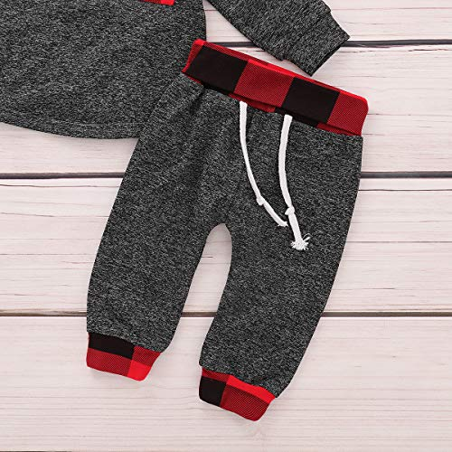 Kids Toddler Infant Baby Boys Girls Fall Outfit Plaid Pocket Hoodie Sweatshirt Jackets Shirt+Pants Winter Clothes Set