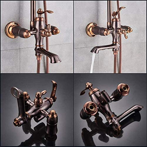 BZM-ZM ブロンズブラック大型レインシャワーセット、シングルレバー水栓プレート蛇口ミキサータップ浴室のシャワーシャワー真鍮の蛇口