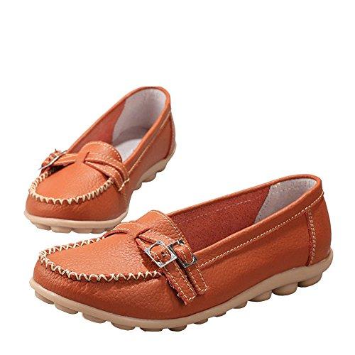 Lisianthus Kvinners Uformelle Flat Skinn Loafers Oransje
