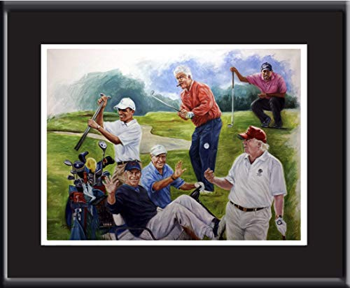 "Golf, presidents, Tiger Woods play golf. Oil painting poster 16x20"" with mat."