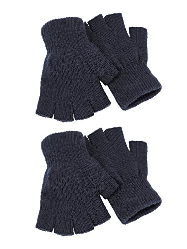 Satinior 2 Pairs Unisex Fingerless Gloves Half Finger Gloves Winter Stretchy Knit Gloves with Standard Size (Standard Knit Glove)
