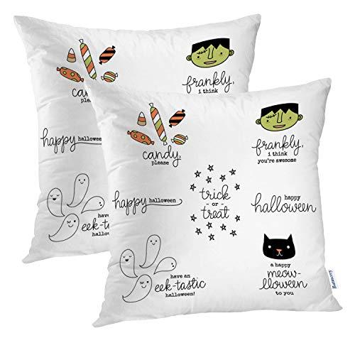 Batmerry Cute Pillow Covers 18x18 inch Set of 2,Cute Hand Halloween Candy Ghost Happy Treat Trick Kawaii Autumn Throw Pillows Covers Sofa Cushion Cover Pillowcase -