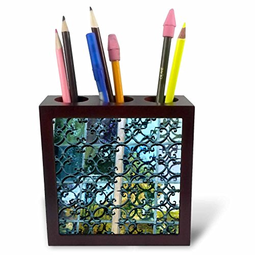 3dRose ph_37335_1 Wrought Iron and Stained Glass-Tile Pen Holder, 5-Inch
