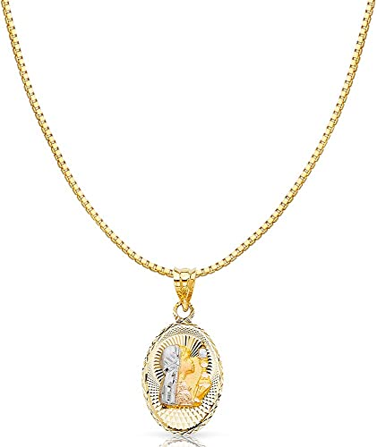 14k Tri Color Gold Religious Communion Stamp Charm Pendant