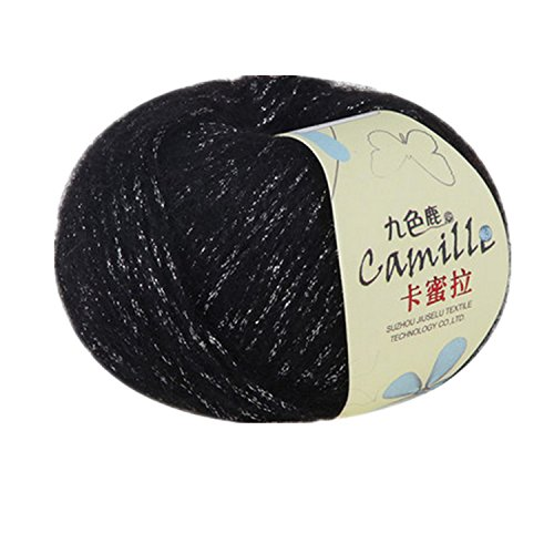 One Skein Super Soft Luxury Kid Angola Mohair Cashmere Wool Knitting Yarn 50g,Black & Spun gold - Gold Mohair Yarn