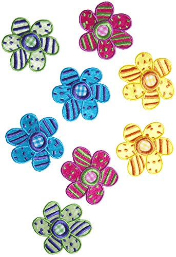 Simplicity Multicolor Polka Dot Applique Clothing Iron On Patches, 8pc, 1.5'' x1.5'', Daisy Flowers