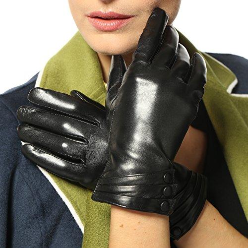 Damen Winterhandschuhe aus Nappaleder, mit Plüschfutter/100% KaschmirFutter und lederüberzogenen Knöpfen (XL ( 2014 Neu/Kaschmir-Futter/Touchscreen ), Schwarz ( Standardgröße ))