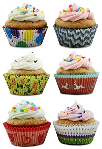 [Cupcake Liners for Birthday, Valentine's, Halloween, Christmas, Multiple Occasions 300 Count] (Holiday Wrapper)