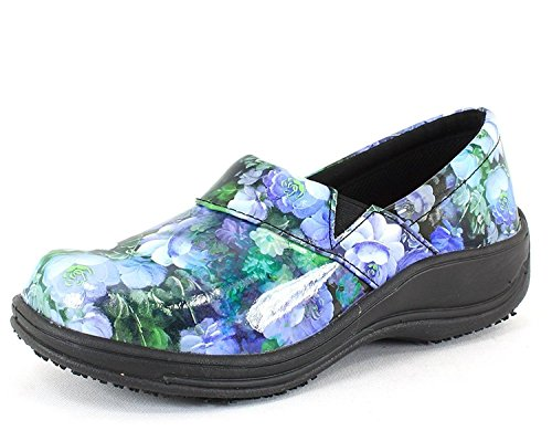 Laforst Rachel 7003 Womens Work Slip Resistant Slip On Clogs Blue Floral 12