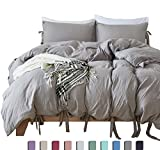Whats the Difference Between King and Cal King Egyptian Cotton Quality Washed Microfiber Duvet Cover Set 3 Pieces - Hypoallergenic Breathable Comforter Cover With Tabs Closure & Inside Corner Ties - Quilt Case King Size Bedding,Solid Grey
