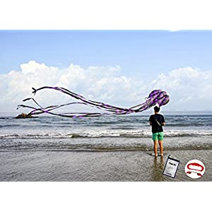 Kizh Kite Octopus Large Frameless Soft Parafoil Kites for Kids and Adults Easy Flyer kite for Beach Park Garden Playground 150 Inchs Long Perfect Outdoor Fun(Purple)