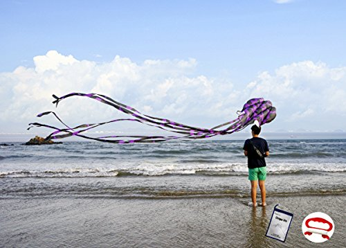 Octopus Kite (Kizh Kite Octopus Large Frameless Soft Parafoil Kites for Kids and Adults Easy Flyer kite for Beach Park Garden Playground 150 Inchs Long Perfect Outdoor Fun(Purple))