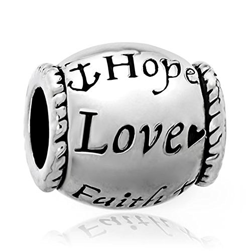 Love Faith Hope Charm - LovelyJewelry Hope Love Faith Charms Silver Plated Beads For Bracelets