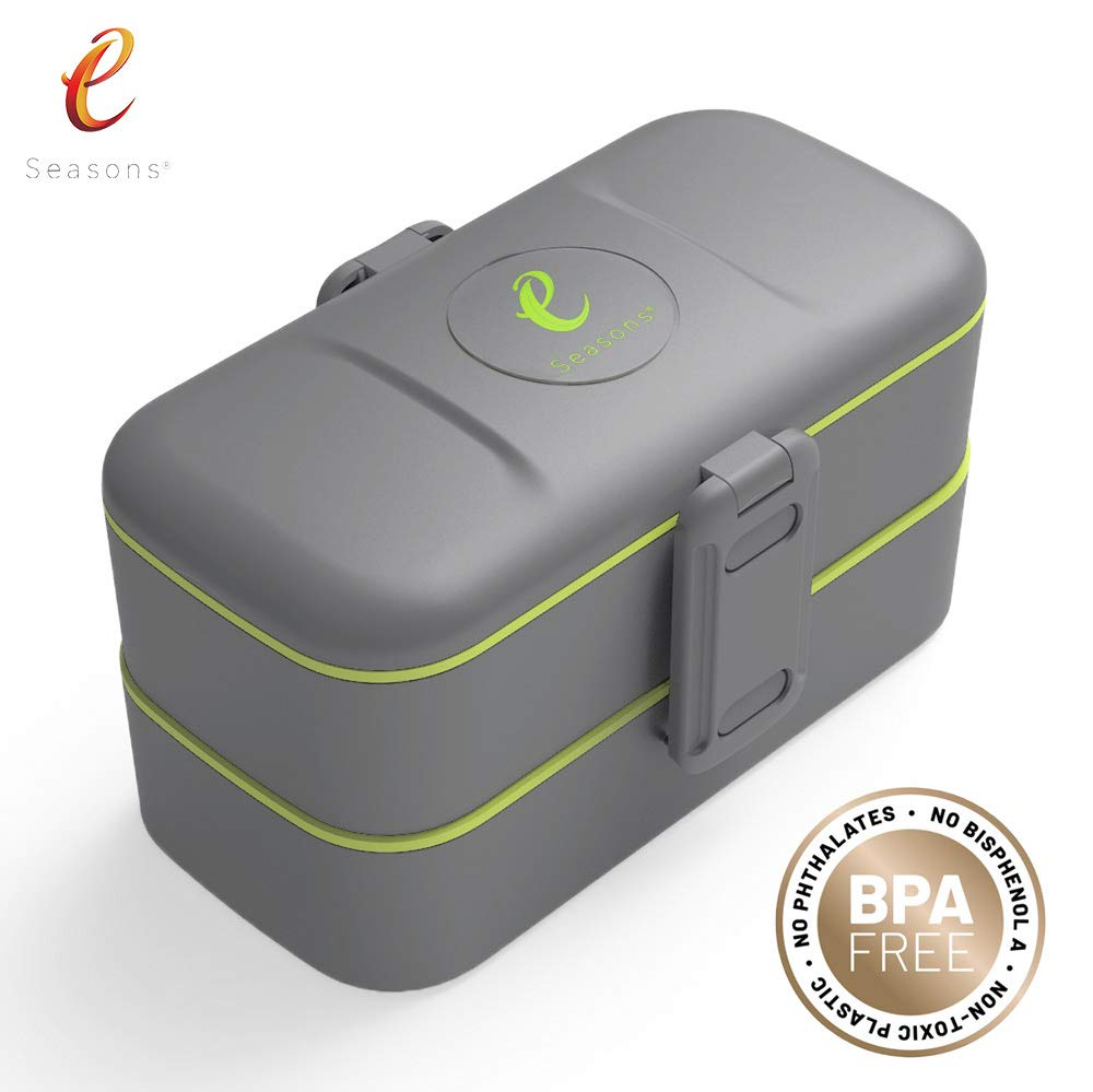 eSeasons Bento Bo/îte /à d/éjeuner 2 Niveaux 4 Compartiments Anti-Fuite en Acier Inoxydable sans BPA Bleu Gris fonc/é