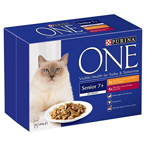 Purina One Senior Chicken & Beef in Gravy Pouch 8 x 85g