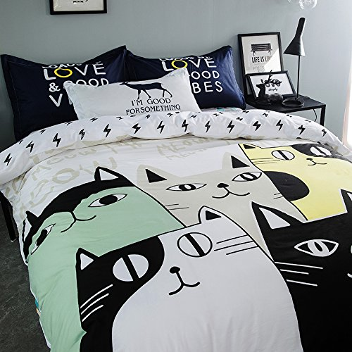 TheFit Paisley Textile Bedding for Teenager Girls and Boy U703 White Town of Meow Cat Duvet Cover Set 100% Cotton, Twin Queen King Set, 3-4 Pieces (Twin)