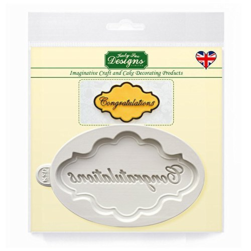 Congratulations Plaque Silicone Mould for Cake Decorating, Cupcakes, Sugarcraft, Candies and Clay, Food Safe