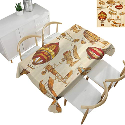- Greatdecor Aviation Tablecloths, Vintage Old Flying Objects Hot Baloons Planes Parachutes Decor Square Fabric Table Covers for Dining Room Kitchen 36'' x 36'' Sand Brown Apricot Mustard Red
