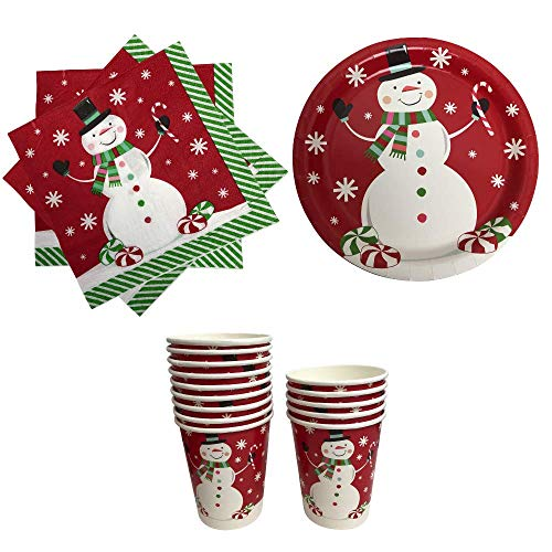 Christmas Paper Plates Napkins and Cups Red with Snowman]()