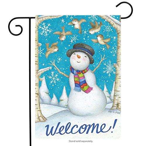 (Briarwood Lane Joyous Welcome Winter Garden Flag Primitive Snowman Birds 12.5