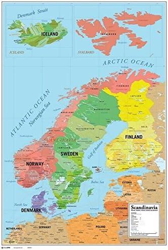 Grupo Erik Editores Gpe4814 Landkarte Poster Skandinavien 61 X 91