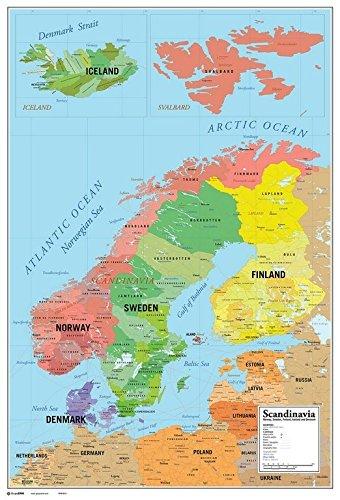 Karte Norwegen Schweden.Grupo Erik Karte Von Skandinavien Poster Map Of Scandinavia
