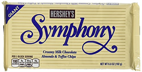 Hershey's Symphony Milk Chocolate with Almonds & Toffee Bar, 6.8-Ounce - Toffee Bars Almond Chocolate