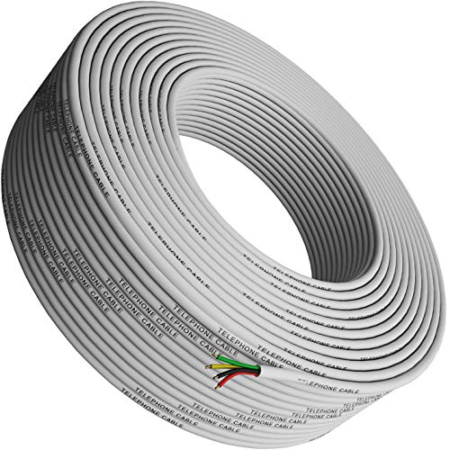 (Phone Cable 300ft Rounded White Roll (100 M - 328 ft Long) 4x1/0.4 26 AWG Gauge Solid Wire RJ11 4P4C -Round Telephone Cord Line Extension Bulk Rool Reel -Compatible with RJ 11 Crimp End Connector Jack)