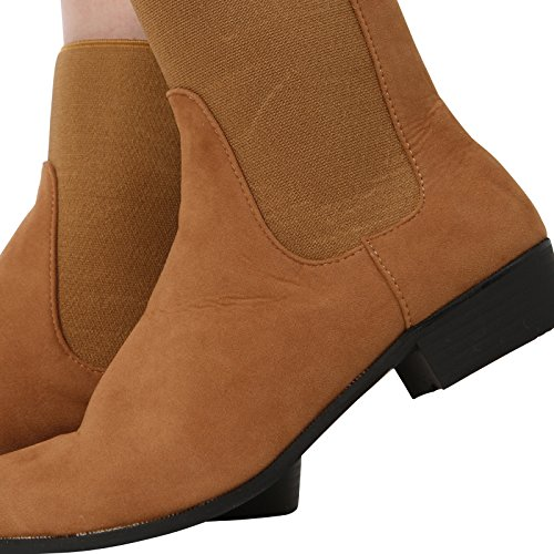 Nuovo Tan Core On Chelsea Collection Donna Suede Low Pull Alla Caviglia Stivali Scarpe Flat Heel Elastico S6Hrq5