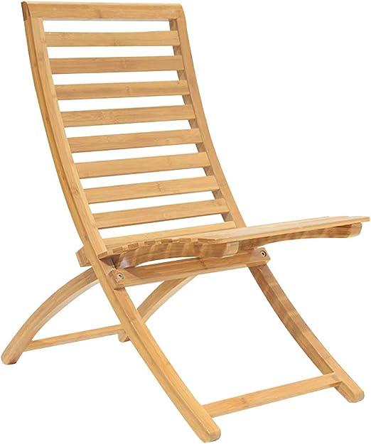XJRHB Silla de Playa reclinable de bambú Mesa Plegable Silla ...