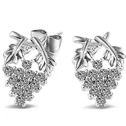 FAVOT Women's Stud Earrings Creative Cute Crystal Grape Pattern Silver Plated Fashion Earrings Girls Wild Jewelry Accessories -