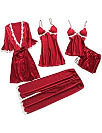 Women Sexy Lace Lingerie Nightwear Underwear Babydoll Sleepwear Dress 5PC Suit