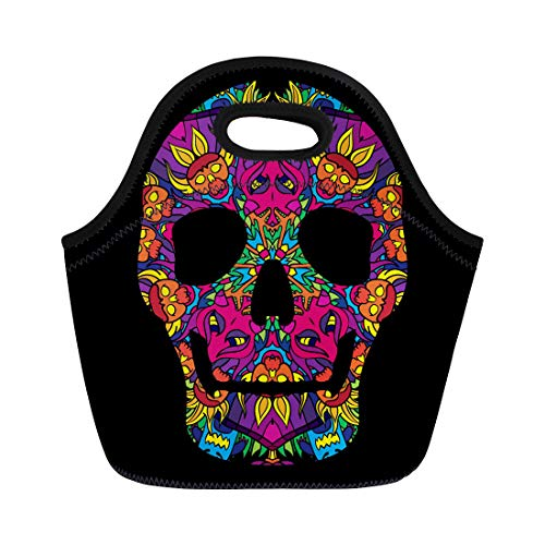 Semtomn Neoprene Lunch Tote Bag Blue Black Psychedelic Mexican Skull 60S Colors Pink Bone Reusable Cooler Bags Insulated Thermal Picnic Handbag for Travel,School,Outdoors, Work