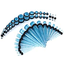 36 Pieces Taper Kit Glitter Aqua Tapers with Glitter Aqua Plugs The Sparkle Stretching Kit - 18 Pairs
