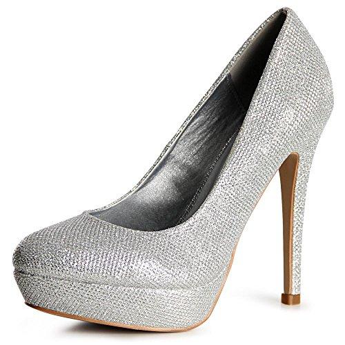 topschuhe24 - Zapatos de vestir de tela para mujer plata
