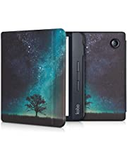 kwmobile Case for Kobo Libra H2O - Book Style PU Leather Protective e-Reader Cover Folio Case - Cosmic Nature Blue/Grey/Black