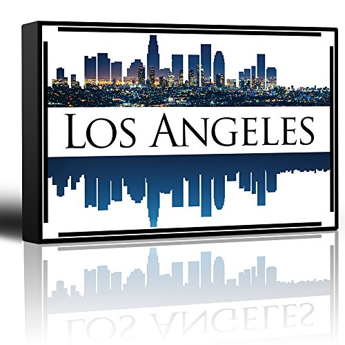 Halloween City Los Angeles (wall26 - City Skyline Series - Los Angeles - Colorful Urban Decor - Sunsets and Silhouettes Famous Buildings and Landmarks - Canvas Art Home Decor - 16x24)