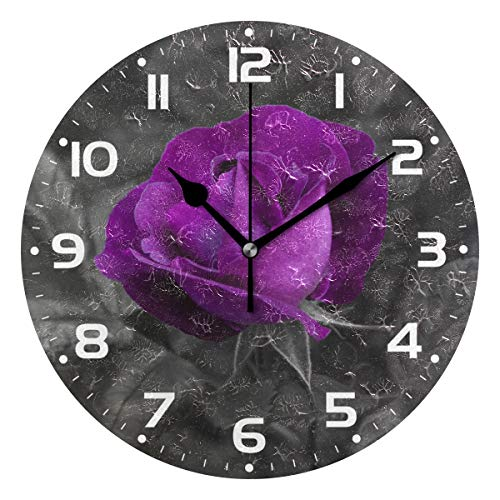 Naanle Purple Flower Rose Floral with Leaf Round/Square/Diamond Acrylic Wall Clock Oil Painting Home Office School Decorative Creative Dual Use Clock Art