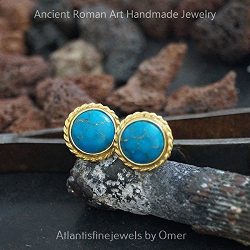 Roman Art Handmade Designer Turquoise Stud Earrings 24k Gold Over Silver By Omer