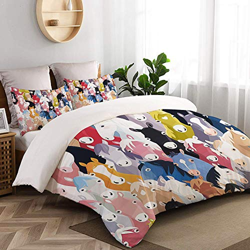 Little Pony Custom Art - CANCAKA Pattern with Colourful Cartoon Horses Pony Childhood Childish Artwork College Dorm Room Decor Decorative Custom Design 7 PC Duvet Cover Set Twin/Twin Extra Long