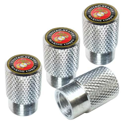 Tricktoppers Polished Silver Billet Knurled Aluminum Tire Wheel Valve Stem Dust Caps For Cars Trucks Trailers SUV's RV's Motorcycles Bikes (Set Of 4) Military Veteran USMC Marine Corps