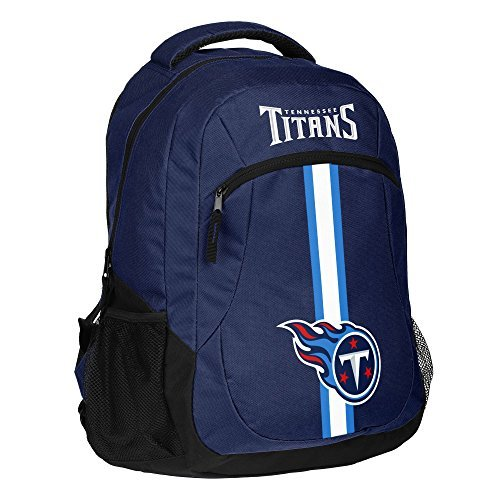 1pc Large NFL Titans Backpack, Stripe Logo Football Themed Strap Back Sports Pattern, Polyester, TEN Merchandise Athletic American Team Spirit Fan School Bag Blue Black White by Unknown