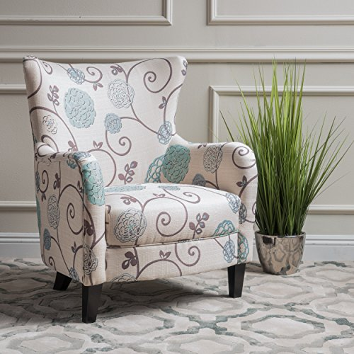 Christopher Knight Home 300040 Arabella Arm Chair White/Blue Floral