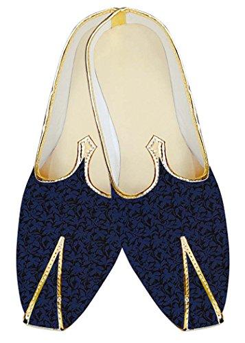 INMONARCH Mens Royal Blue Polyester Wedding Mojari Black Flower MJ18353 Royal Blue bejTIl
