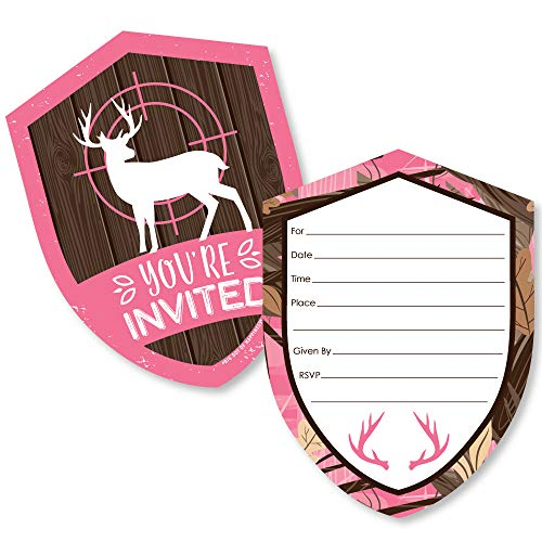 Pink Gone Hunting - Shaped Fill-in Invitations - Deer Hunting Girl Camo Baby Shower or Birthday Party Invitation Cards with Envelopes - Set of 12]()